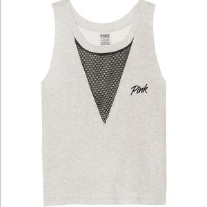 New! VS PINK MUSCLE MESH TANK